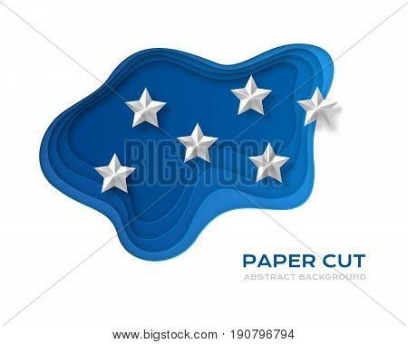 Paper cut design concept for flyers presentations and posters. Colorful carving art. 3D abstract vector background with blue layers and white stars.