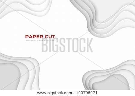Paper cut design concept for flyers presentations and posters. Vector abstract carving art. White colors 3D layered background.