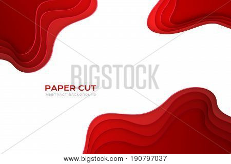 Paper cut design concept for flyers presentations and posters. Vector abstract carving art. Red colors. 3D layered background.