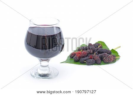 mulberry juice extract in glass isolated on white background