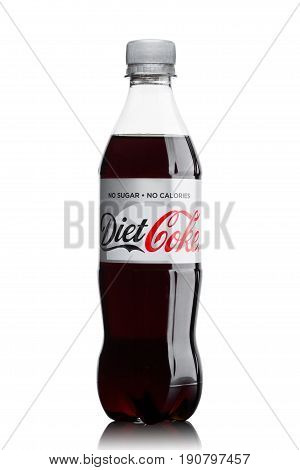 London, Uk - June 9, 2017: Bottle Of Diet Coke Soft Drink On White.the Coca-cola Company, An America