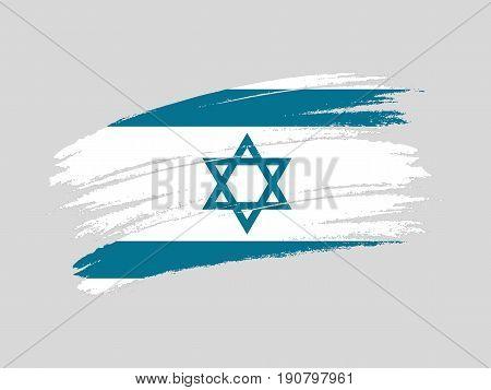Flag of Israel grunge style. Isolated vector illustration on white background.