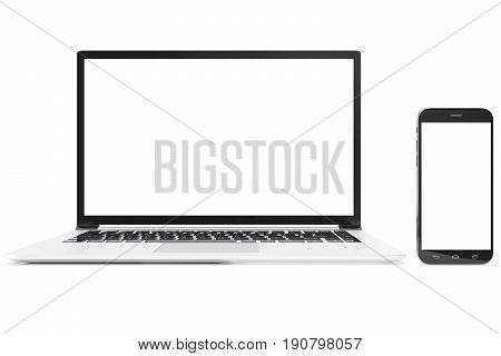 Desktop computer blank mock up. Glossy laptop computer mock up. Modern computer mock up. Perfectly detailed smartphone mock up near computer blank. 3D Rendering