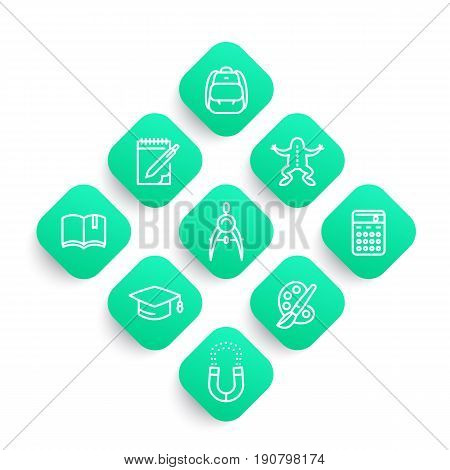school line icons set, college, graduation, physics, biology, geometry, reading, arts, education, study, vector illustration