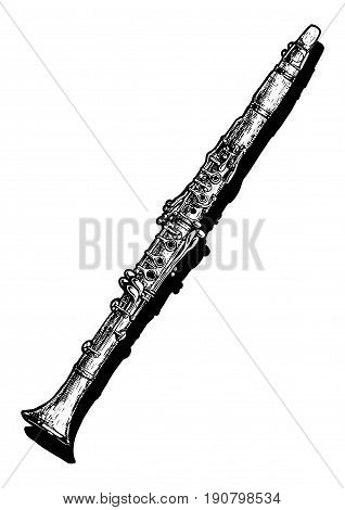 Vector hand drawn illustration of clarinet. Black and white isolated on white.