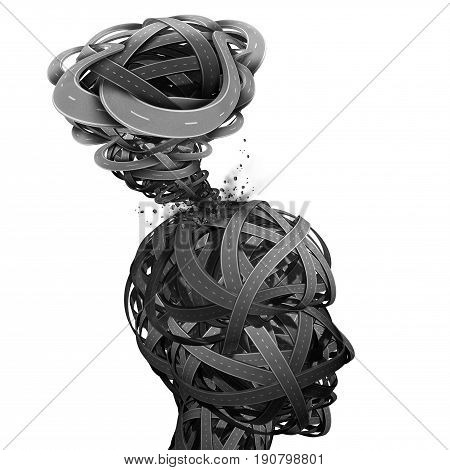 Mental confusion and mind disorientation concept as a psychological and medical health or brain trouble as a human head and destructive tornado shaped with a group of roads as a work stress metaphor as a 3D illustration.