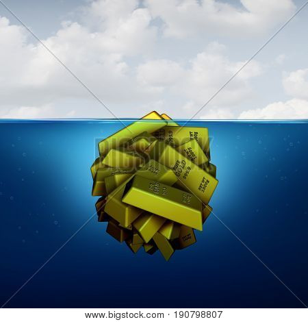 Iceberg business concept as a hidden fortune opportunity economic vision concept as an investing metaphor as agroup of gold bars with 3D illustration elements.