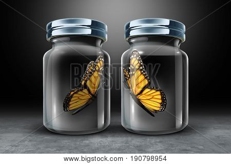Barriers to communication and physical barrier concept as two butterflies in seperate closed glass as a jars as a 3D illustration.