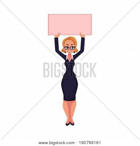 Girl, woman, businesswoman on strike holding empty board over head with two hands, cartoon vector illustration isolated on white background. Businesswoman, woman with empty board on strike
