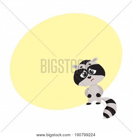 Sick baby raccoon standing paws on stomach, having colic, cramps, abdominal pain, cartoon vector illustration with space for text. Sick little raccoon having stomach ache, cramps, colic