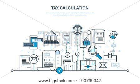 Financial calculations, counting profit, income, taxes, research statistics data, data analytics, planning, report. Illustration thin line design of vector doodles, infographics elements