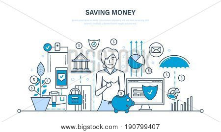 Saving money, finance, banking, online payment, online commerce, investments. Illustration thin line design of vector doodles, infographics elements