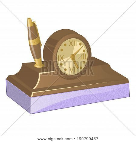 Brown wooden old clock with roman numerals vector illustration. Stand under the pen. Vintage desk clock. Table clock