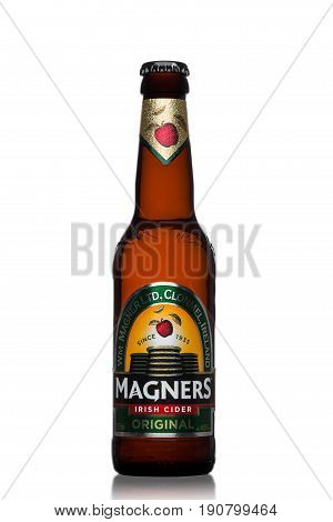 London, Uk - June 9, 2017: Bottle Of Magners Original Irish Cider On White.