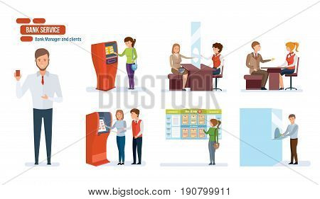 Bank service and finance, clients, business people working in the office, financial advisor, cashiers, manager, atm and bank entrance. Vector illustration isolated in cartoon style.