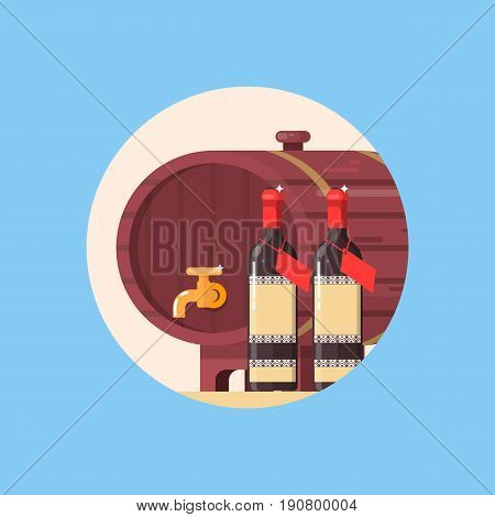 Wine barrel with bottle of wine isolated in circle. Flat vector illustration