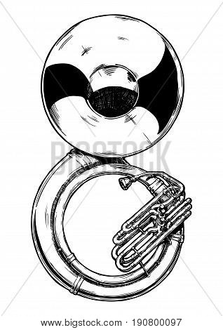 Vector hand drawn illustration of sousaphone. Black and white isolated on white.