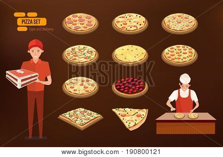 Different kinds of Italian pizza, a pizza delivery man, and a cook cooking pizza on the kitchen table. Vector illustration isolated in cartoon style.