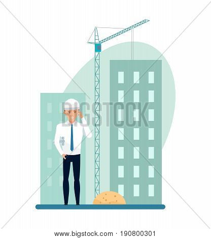The chief engineer with the blueprints on the construction site communicates by phone, observes the progress of the construction. Vector illustration isolated on white background in cartoon style.