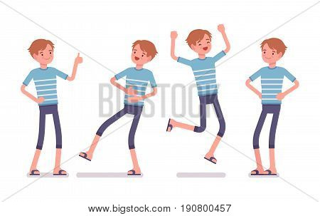 Young smiling man wearing leisure summer fit, trendy stripe print, beach shoes, feeling good, jumping with joy, positive emotions. Vector flat style cartoon illustration, isolated, white background