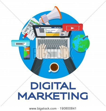 Web analytics elements. Digital marketing. Work in social networks. Search engine optimization. Expert in SEO. Banner for advertising of the round form. Vector illustration