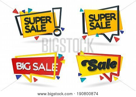 Set of colored stickers and banners. Geometric shapes in 3d style. Set of beautiful discount and promotion banners. Advertising element. Sale banner tag. Vector illustration.
