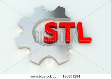STL gear wheal white background 3d illustration