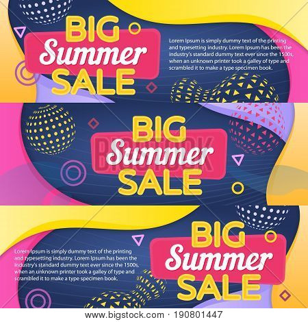 Special discounts. Modern banner in the memphis style. A set of banners. Big summer sale. Curved colored lines. Template for advertisement. Colored background with icons. Vector illustration
