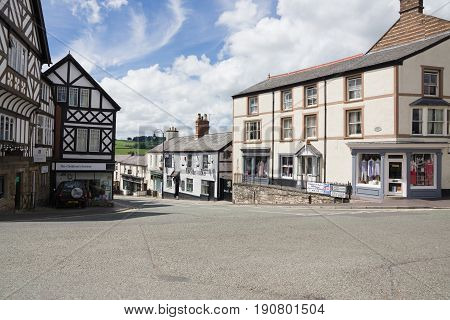 Ruthin Wales UK - June 4 2017: Clwyd street in Ruthin with it's quaint historic buildings and shops including the Boars Head public house