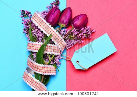 Bouquet Of Spring Flowers: Tulips And Lilac Of Purple Colour