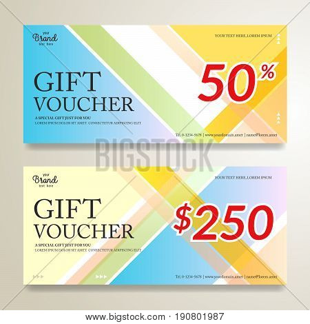 Modern gift card or gift voucher certificate on colorful abstract stripe
