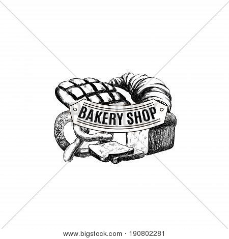 Vector hand drawn collection of Bakery products. Template for poster business card banner label and icon for bakery shop and menu. Bakery hand sketched set.