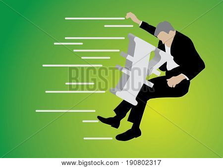 businessman pushed back by big yen sign on green background