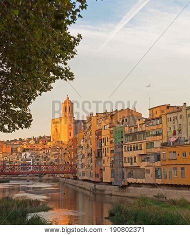 Panorama Of Gerona, Costa Brava, Catalonia, Spain.