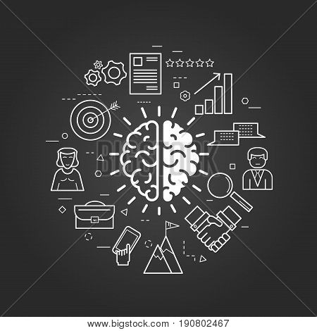 Vector concept of Think Different Round Concept in Thin Line Art Style. Human brain and business icons - document, charts, computer and man users on a black chalkboard
