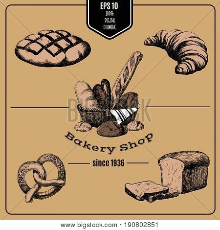 Vector hand drawn collection of Bakery products. Template for poster business card banner label and icon for bakery shop and menu. Bakery hand sketched set in basket.