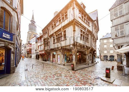 DINAN, FRANCE - May 29, 2017: Street view in the center of the old town Dinan in Brittany region in France