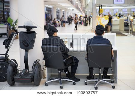 BANGKOK THAILAND-February 162017: Airport Police on duty using Segway to patrol and security around the Terminal for prevent terrorist.