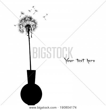 Dandelion in a pot with place for your text