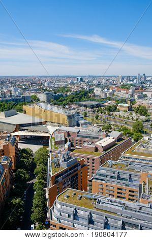 Skyline of Berlin city center - Aerial view over Berlin from Potsdamer Platz