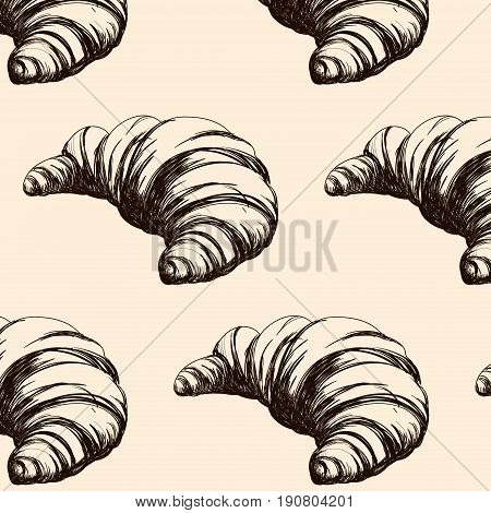 Pattern with hand drawn illustration of croissant isolated . Bakery product. Template for poster business card banner label and icon for bakery shop and menu. Bakery hand sketched.