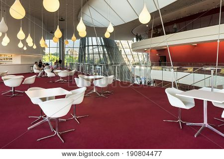 KRAKOW POLAND - JUNE 09 2017: The ICE Krakow Congress Centre in Poland is the business and cultural flagship of the city with a total capacity of 3200 people. It is one of the best concert and congress halls in Poland.