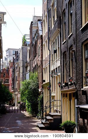 a residential side street in Amsterdam Holland