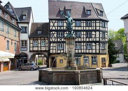Colmar France. The courtyard in the medieval city in the center of Europe