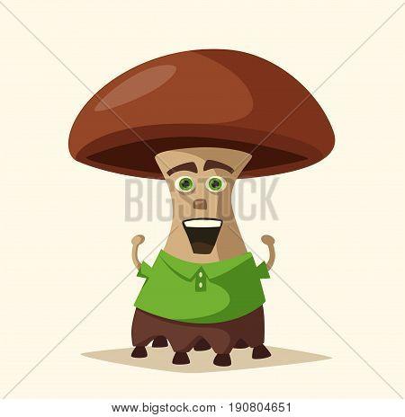 Funny monster. Cartoon vector illustration. Alien character. Friendly person. Giant mushroom
