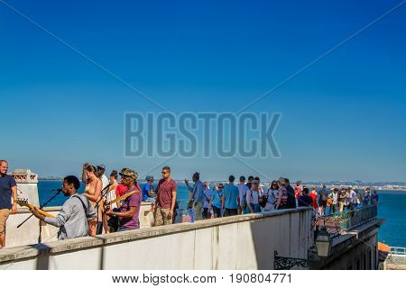 Lisbon Portugal. 05 June 2017.View of tejo river from the Portas do Sol viewpoint in Alfama. Lisbon Portugal. photography by Ricardo Rocha.