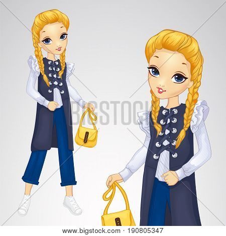 Vector illustration of blonde in a long waistcoat and blue trousers holds a yellow handbag