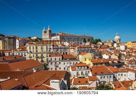 Lisbon Portugal. 05 June 2017.View of Lisbon town rooftops from the Portas do Sol viewpoint in Alfama. Lisbon Portugal. photography by Ricardo Rocha.