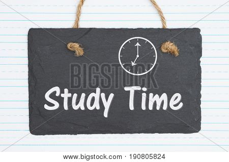 Study Time text on weathered old chalkboard and retro lined paper