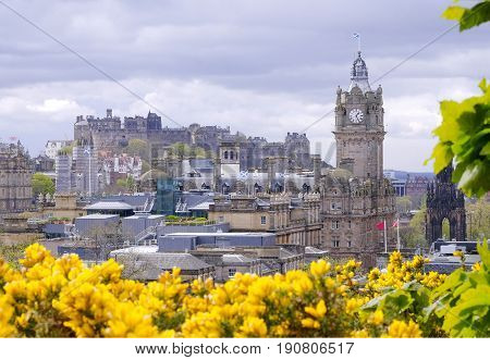 A view of Edinburgh City including the castle and yellow gorse in the front